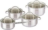 Набор кухонной посуды Fissman Gabriela 3 кастрюли и ковш с мерной шкалой FN-SS-5816psg, КОД: 170263