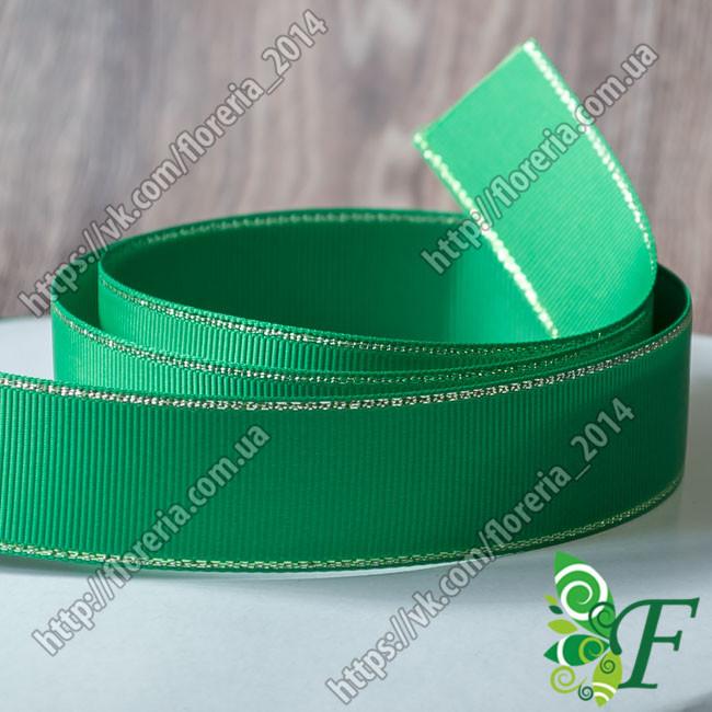 019-Репсовая лента 25мм с люрексом зеленая_3 м.