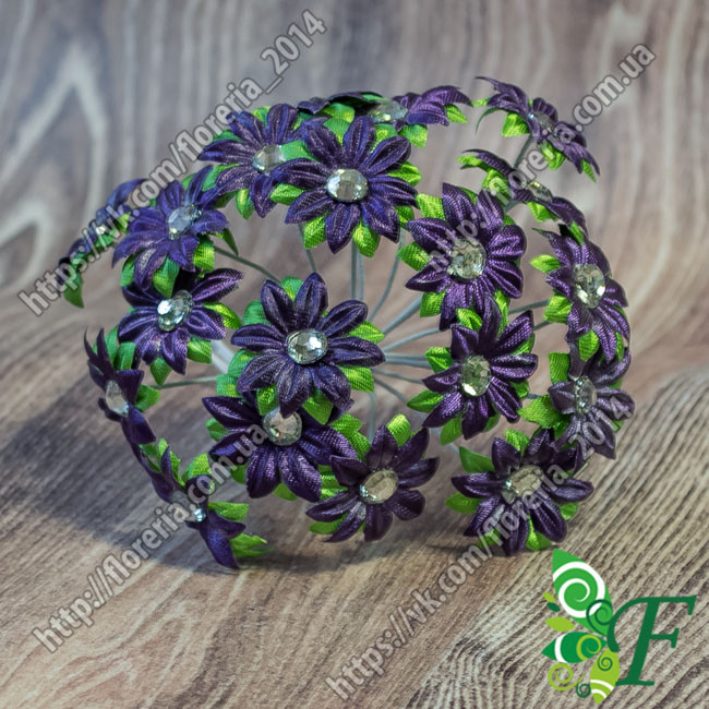 Букетик анемон со стразом фиолетовый