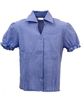 Детская блуза с коротким рукавом Голубая Размер 128