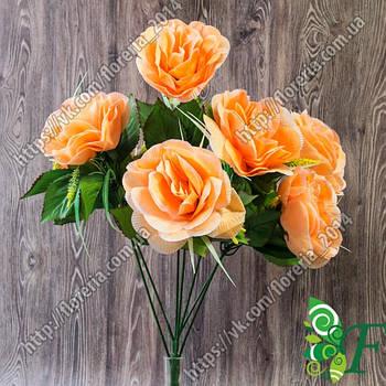 Букет Розы с пшеницей_персиковый