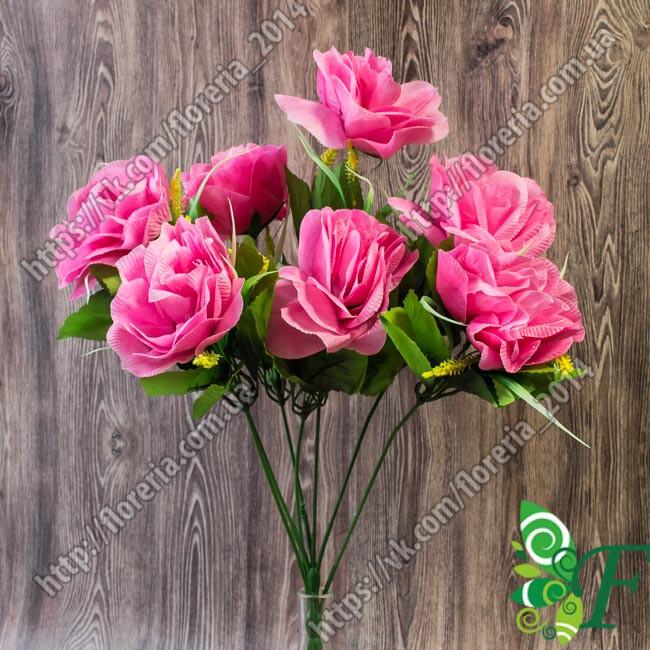 Букет Розы с пшеницей_малиновый