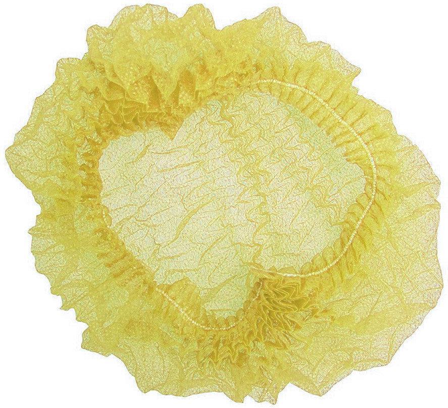 Шапочка одноразовая на двойной резинке Polix PRO&MED (100шт в упаковке) Спанбонд Желтая