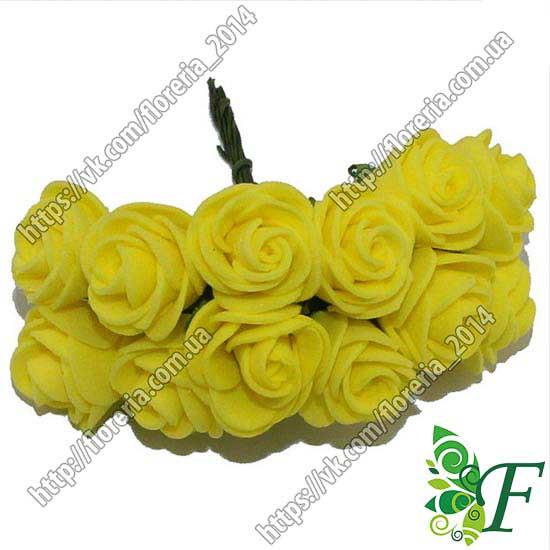 Букетик латексных розочек 20мм желтые_упаковка