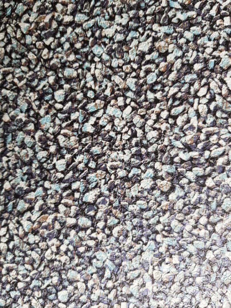 Виниловые обои на флизелиновой основе Ugepa Reflets  А08301 синие с бирюзой мозаика мелкие камни моющиеся 3d