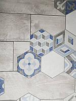 Виниловые обои на флизелиновой основе Ugepa Reflets L77711 голубые бежевые под плитку разные формы моющиеся
