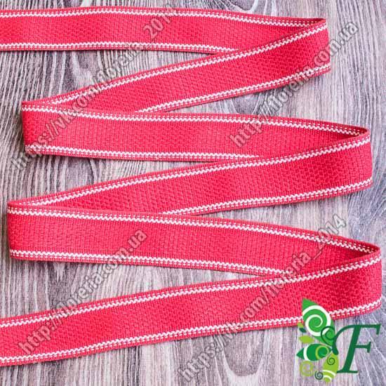 Лента ременная Красная с 2-белыми полосами 3м