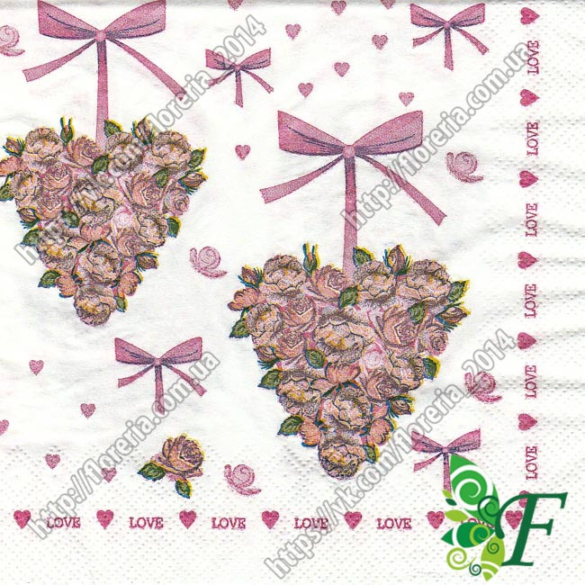 Салфетка Сердце из роз