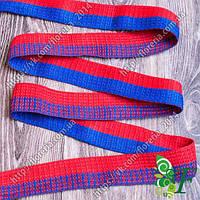 Лента ременная Красная с синей полосой 3м