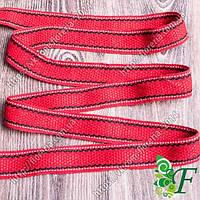 Лента ременная Красная с 2-черными полосами 3м