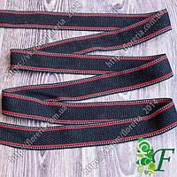 Лента ременная Черная с 2-красными полосами 3м