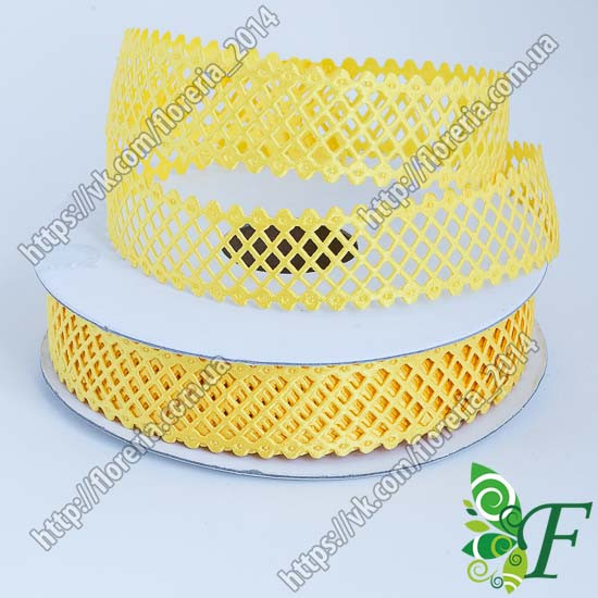 Тесьма атласная сетка 2 см_желтая