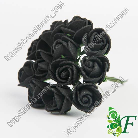 Букетик латексных розочек 15 мм черные