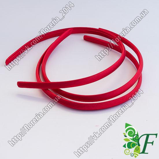 Обруч пластик+атлас 1 см красный