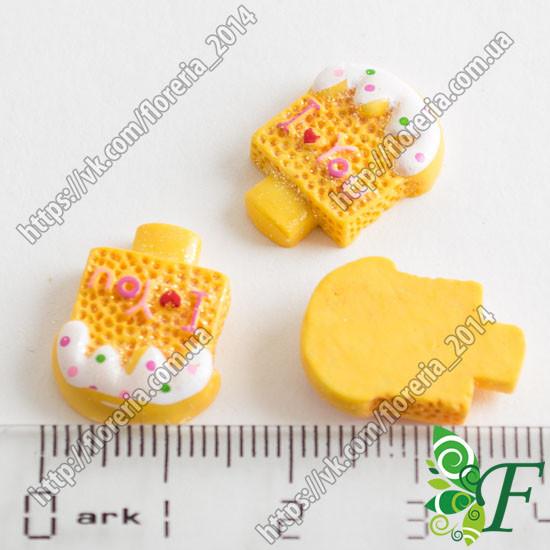 Объемная Серединка мороженко в глиттере желтое за 2 шт.