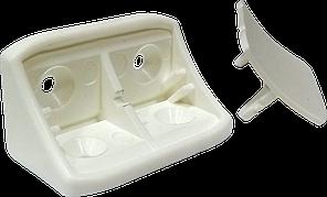 Куток пласт. з двома отворами 43х24мм, білий, PE