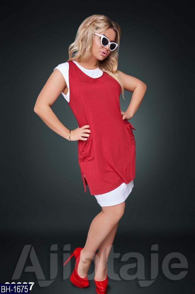 Женское прогулочное стильное летнее мини платье с карманами без рукавов (вискоза) 4 цвета (батал)