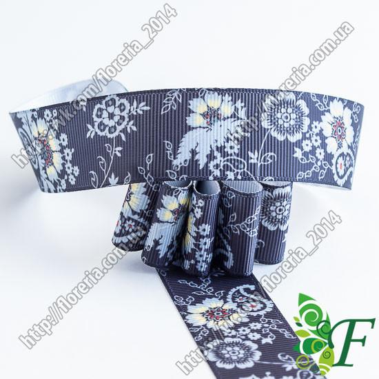 Лента репсовая Цветы и огурцы на черном