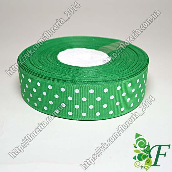 Лента репсовая Горох 25мм зеленый за 3м
