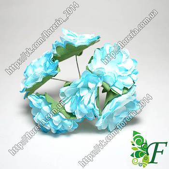 Хризантема бумага 6шт голубая