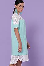 Ассиметричное летнее платье широкое с карманами прошва мятного цвета, фото 2