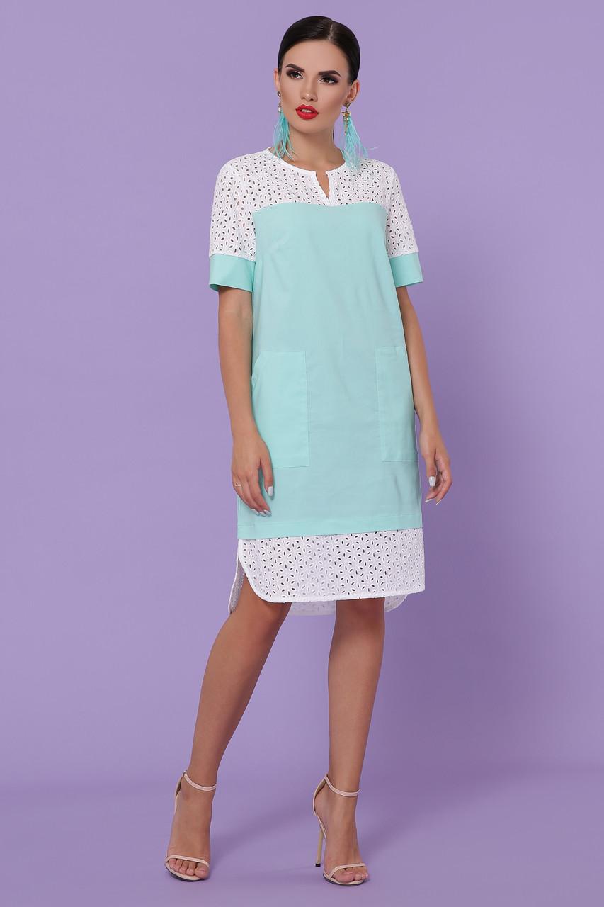 Ассиметричное летнее платье широкое с карманами прошва мятного цвета