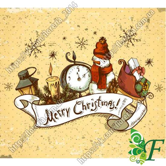 Бирка открытка 5х4,5см Снеговик 100шт