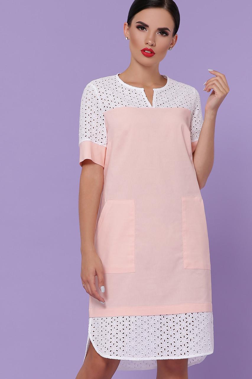 Свободное платье на лето до колена персикового цвета