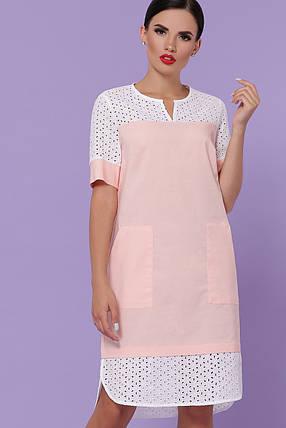 Свободное платье на лето до колена персикового цвета, фото 2