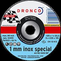 Диск отрезной по нержавеющей стали 125x1.6х22.2 Dronco
