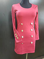 Распродажа!!! трикотажное платье малинового цвета длинный рукав код 2704, фото 1