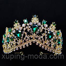 Шикарная корона, диадема, тиара, для конкурса, с зелеными камнями