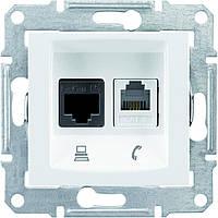Розетка компьютерная 6E кат. STP + телефонная Белый Sedna Schneider, SDN5100121