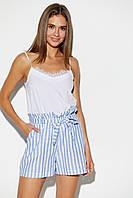 Летние женские льняные шорты в полоску, фото 1