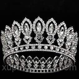 Круглая свадебная, корона, тиара для волос, под серебро