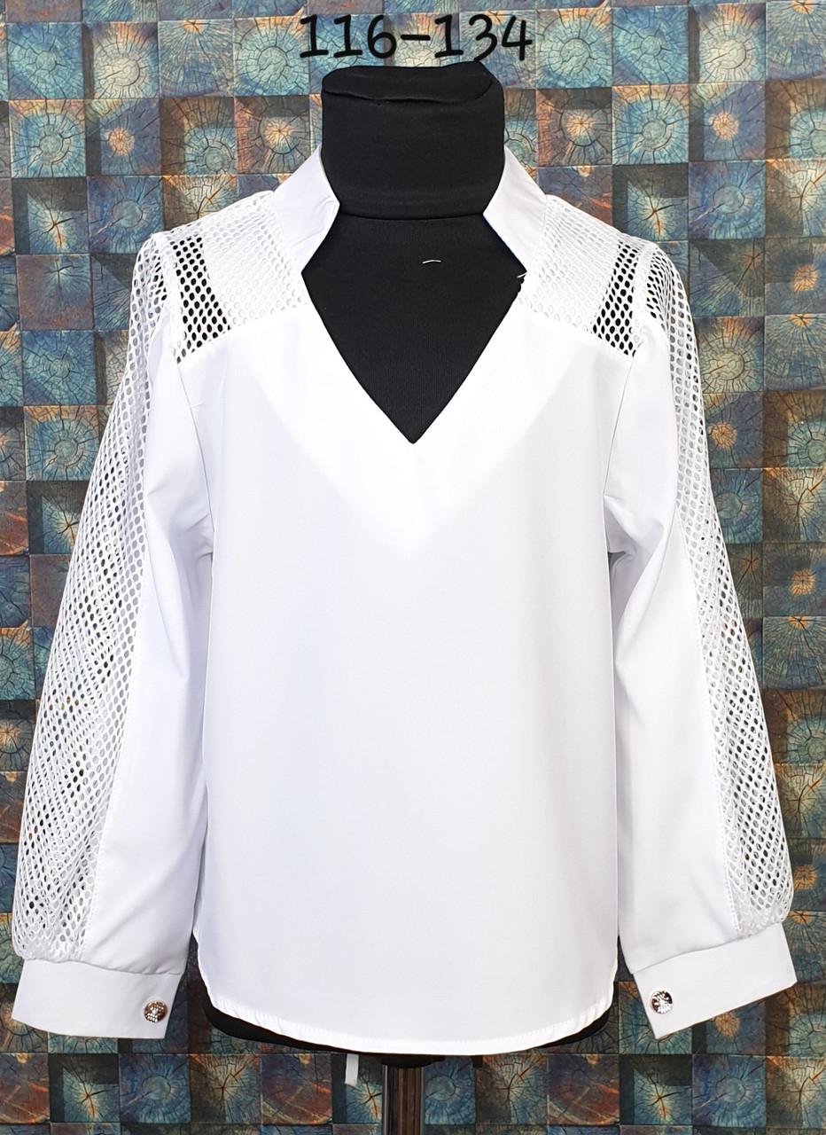 Блузка со вставкой сетки  116-134 белый