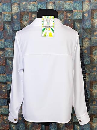 Блузка со вставкой сетки  116-134 белый, фото 2