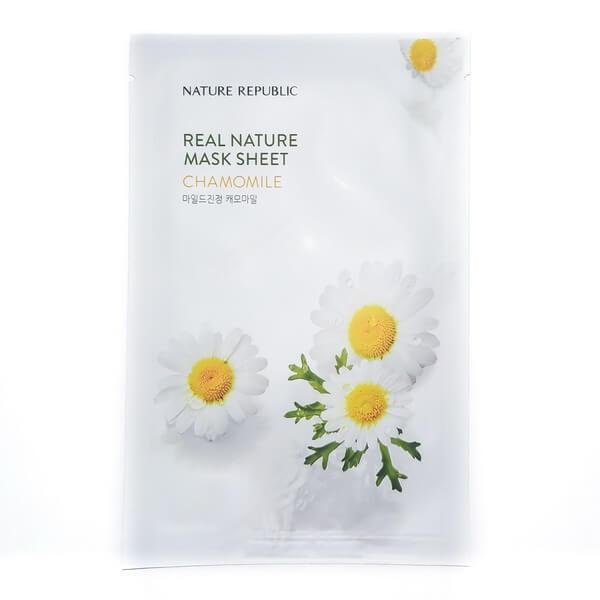 Тканевая маска для лица с экстрактом ромашки Nature Republic Real Nature Mask Sheet Chamomile