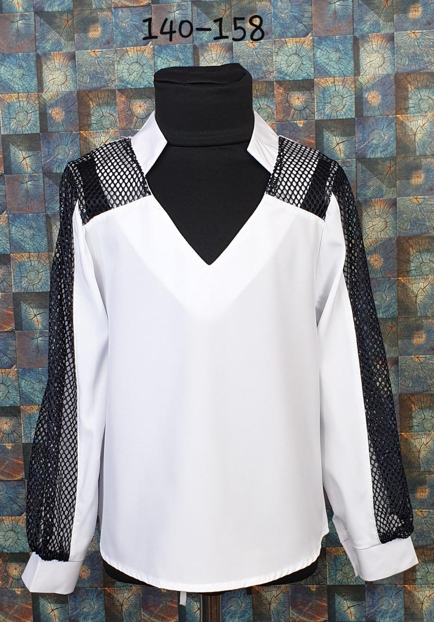 Блузка подросток со вставкой сетки  140-158  белый+ черный