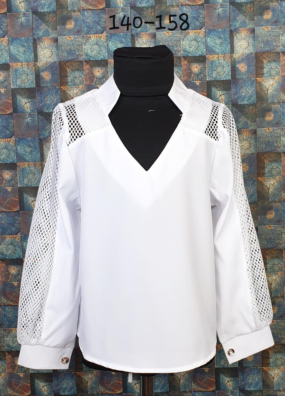 Блузка подросток со вставкой сетки  140-158  белый
