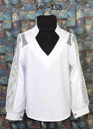 Блузка подросток со вставкой сетки  140-158  белый, фото 2