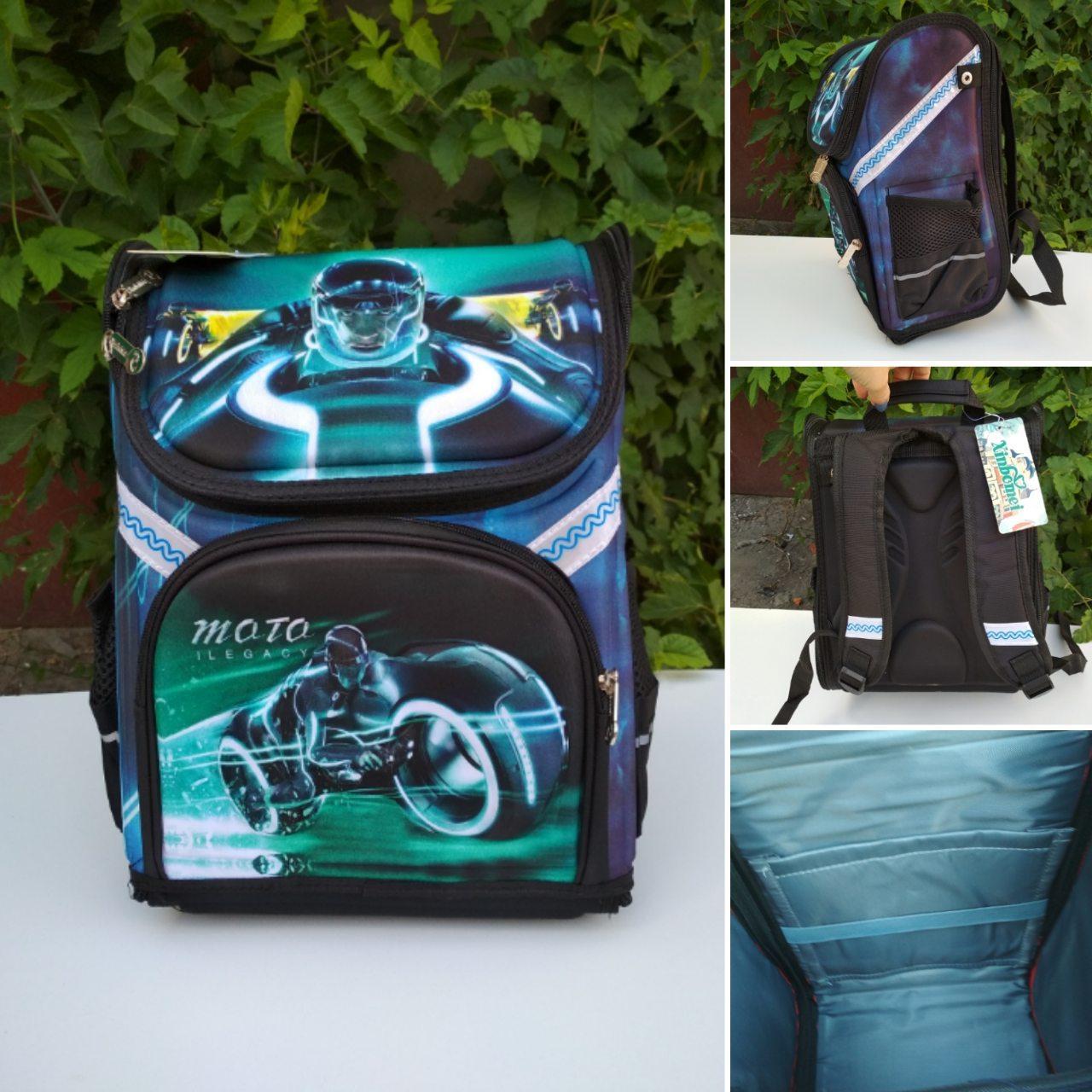 Каркасный ортопедический ранец Мотоциклист для мальчика 34*26*16 см