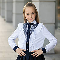 """Блузка школьная для девочки длинный рукав, с кружевом """"Нинель"""""""