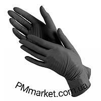 Перчатки нитриловые 100 штук в упаковке, размер S (черные)
