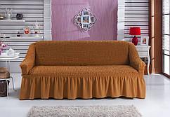 Чехол универсальный на трёхместный диван «Рыжий» Турция 895грн