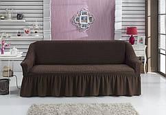 Чехол универсальный на трёхместный диван «Темно-коричневый»Турция 895грн
