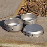 Набор титановых тарелок 3в1 Keith. Туристическая титановая посуда. Тарелка-сковородка. Туристичний набір