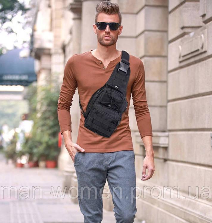 Тактичний рюкзак однолямочный. Чорний, мультикам, олива, койот (пісок)