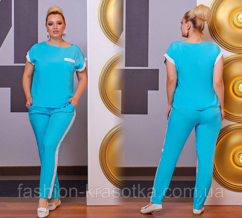 75cc3ac01158 ... Модный женский летний брючный костюм,ткань штапель,размеры:48-50,52