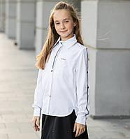 """Блузка шкільна довгий рукав для дівчинки, ошатна """"Милі"""", фото 1"""
